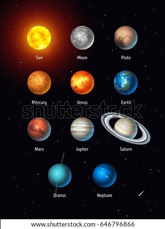 vector set of solar system