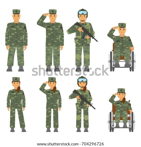 vector set of soldier man