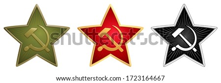 Vector set of Soviet stars for military side caps. Field (green), ceremonial (red) and monochrome (black) signs with a Hammer and Sickle. Historical symbol of old Red Army of USSR. Realistic details. Сток-фото ©