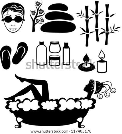vector set of spa and recreation icons