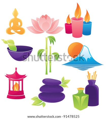 vector set of spa asian icons