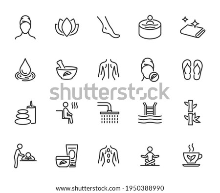 Vector set of spa line icons. Contains icons massage, cosmetology, sauna, beauty salon, swimming pool, jacuzzi and more. Pixel perfect. Photo stock ©
