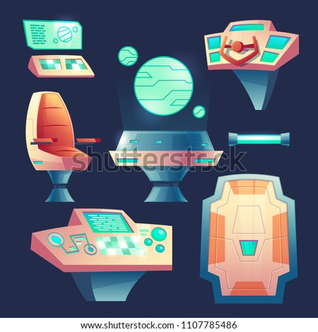 Vector set of spaceship design elements. Control panel with laptops for cockpit in rocket. Devices, collection for interior of flying craft isolated on dark background