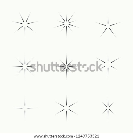 Vector set of sparkle lights stars. Stars with rays, explosion, fireworks.