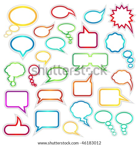Vector set of speech bubbles and thought clouds used to indicate communication and dialog. JPG and TIFF versions of this image are also available in my portfolio.