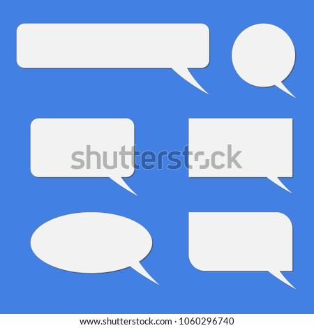 Vector set of speech bubbles. Blank empty white speech bubbles.