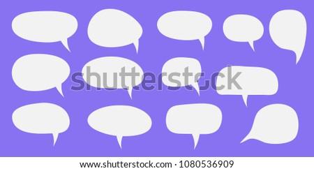 Vector set of speech bubbles. Blank empty white speech bubbles. Cartoon balloon word design.