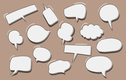 Vector set of speech bubbles. Doodle hand draw like kids style in pastel color for use in business, chat, inbox, dialog, message, question, communication, talk, speak, sticker, balloon, thinking