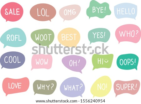 Vector set of speech bubbles with handwritten short phrases sale, lol, omg, bye, hello, rofl, woot, best, yes, who, cool, wow, oh, hi, oops, love, why, what, no, super isolated on white. EPS10