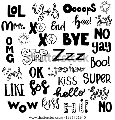 Vector set of speech with simple lettering. Dialog phrases: Yes, xoxo, cool, lol, ok, super, hello, wow, omg, yay.