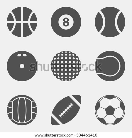 vector set of sport ball icons. basketball, billiard, baseball, bowling, golf, tennis, volleyball, football, soccer