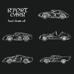 Vector set of sport cars.Hand drawn