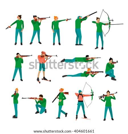 vector set of sport shooting