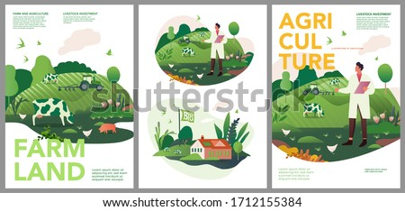 Vector set of spring and summer posters. Investments in animal husbandry, technologies and agribusiness development. Illustrations of farms and objects agronomy for a poster, banner, or postcard.