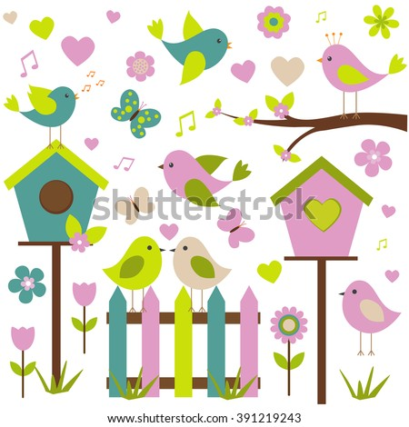 vector set of spring theme