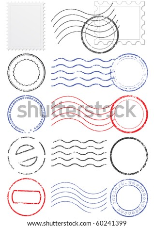 Vector set of stamps and postmarks. All vector objects are isolated. Colors and transparent background color are easy to adjust. stock photo