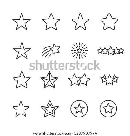 Vector set of star line icons.