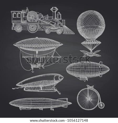 vector set of steampunk hand