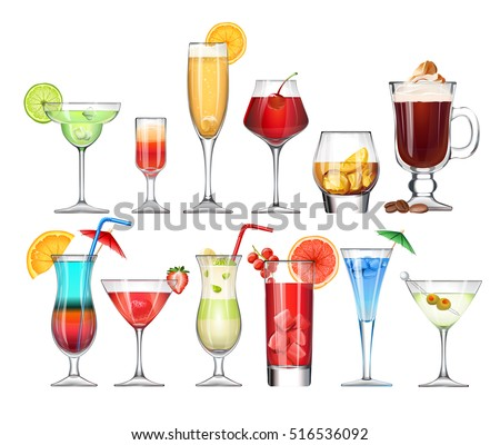 vector set of stemware and