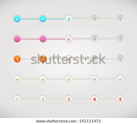 Vector set of step by step  progress bar