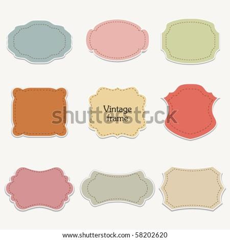 Vector set of  stickers, vintage frames