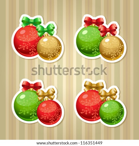 Vector set of stickers with Christmas/New Year balls and bows