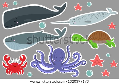 Vector set of stickers with the image of sea animals. Ready to print stickers. Cartoon sea animals, underwater life. Narwhal (unicorn fish), whale, sperm whale, turtle, starfish, bubbles water, crab.