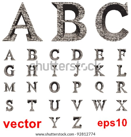 Vector set of stone fonts isolated on white background