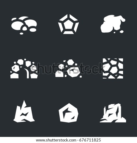 vector set of stone icons