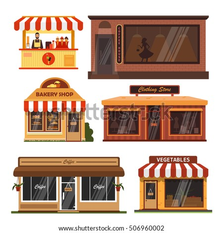 Vector set of store buildings. Shops design elements and icons in flat style isolated on white background. Coffee shop, bakery, grocery store, ice cream.