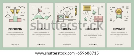 Vector set of strategy concept vertical banners. Inspiring, Goals, Ideas, Concept and Reward templates. Modern thin line flat design elements, symbols, icons for website menu, print.