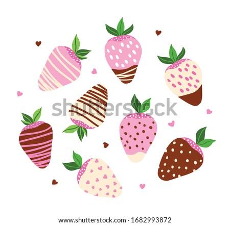 vector set of strawberries in