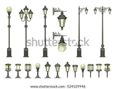 vector set of street lamps and