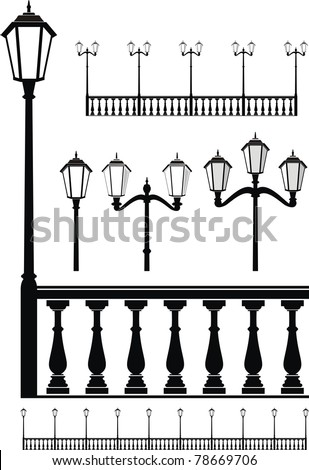 Vector set of street lantern in old style and balustrade - isolated illustration on white background. Architectural element.