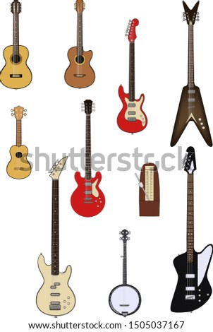 Vector set of string music instruments. Electric guitars, acoustic guitars, classic guitar, bass guitar, banjo, metronome.