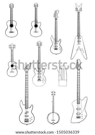 Vector set of string music instruments line. Electric guitars, acoustic guitars, classic guitar, bass guitar, banjo, metronome.