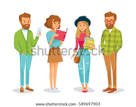 Vector set of students with books