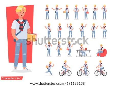 Vector set of students young man character design.