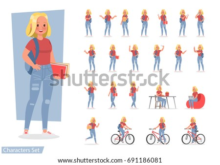 Vector set of students young woman character design.