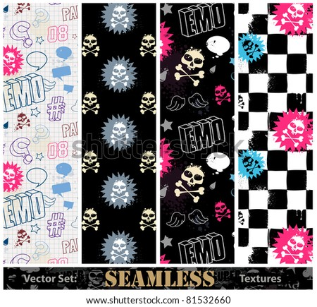 Vector set of stylish emo seamless textures.