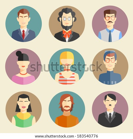 vector set of stylish handsome