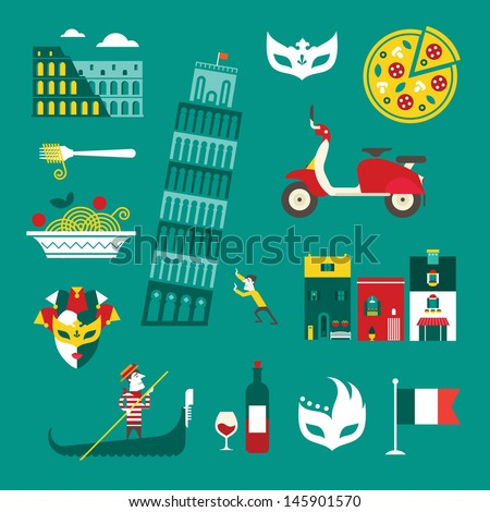 vector set of stylized italy...