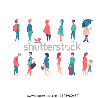 Vector set of stylized people figures, flat line and color men and women in different poses.
