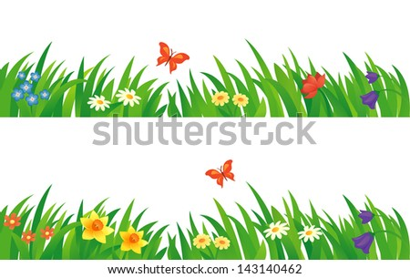 vector set of summer grass and