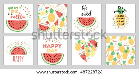 Vector set of Summer holiday banners with inspirational bright quote Image with fruits watermelon, pineapple decorated quote with summer beach party, birthday invitation with cute graphics love slogan