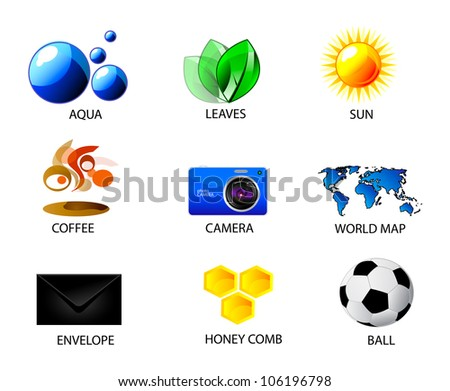 Vector set of summer icons. Isolation over white background. Aqua, leaves, sun, coffee, camera, map world, envelope, honey comb and soccer ball.