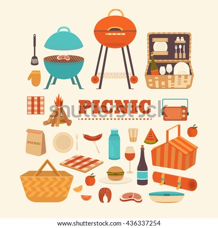 vector set of summer picnic....
