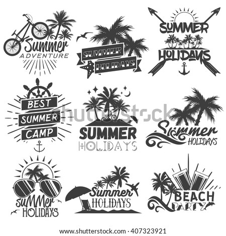Vector set of summer season labels in vintage style. Design elements, icons, logo, emblems and badges isolated on white background. Summer camp, beach holidays, tropical sea vacations.