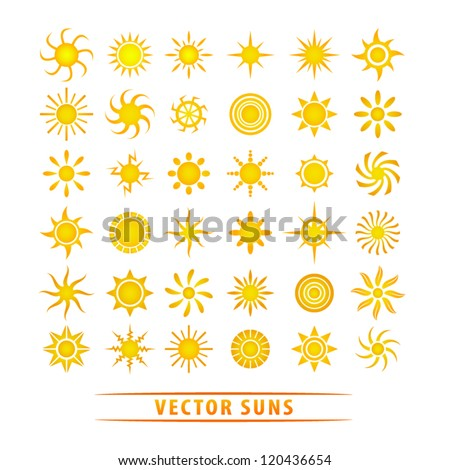 vector set of sun symbols