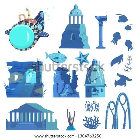 vector set of sunken ruins of